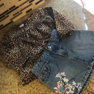 Other - Leopard fleece sweater and distressed jean skirt